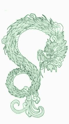 Dios Quetzalcoatl. Dragon Azteca, Chicano Art, Quetzal Tattoo, Pixel Tattoo, Tatoo Art, Body Art Tattoos, Cool Tattoos, Quetzalcoatl Tattoo, Feathered Serpent