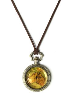 Map Print Watch Pendant Necklace