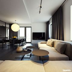 - Flat interior design on Behance Adobe Photoshop, Tamizo Architects, Flat Interior Design, Arch Light, White Bedroom Design, Minimal Architecture, Living Room Interior, Living Rooms, Interiores Design
