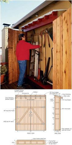 With these DIY shed plans, you will be able to build the storage sheds of your d. With these DIY shed plans, you will be able to build the storage sheds of your dreams without spending a lot of mone Shed Storage, Garage Storage, Storage Spaces, Shed Shelving, Shed Construction, Firewood Shed, Build Your Own Shed, Backyard Sheds, Backyard Storage