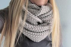 Gap-tastic Cowl - uses 2 skeins (5) bulky weight yarn & size 13 needles knitted in seed stitch. What could be easier - maybe gift idea for one of the girls?