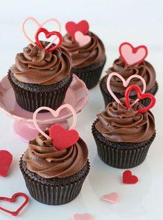 35+ Valentine's Day Cupcake Ideas - Double Chocolate Valentine's Cupcakes