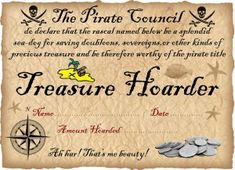 Printable certificate from the Pirate Council for children who have been saving their gold!