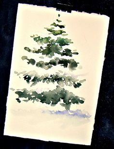 Kunst Zeichnungen: In and Out of The Studio .Could be easily be done for invitations or gift tags. Watercolor Christmas Cards, Diy Christmas Cards, Xmas Cards, Christmas Art, Diy Cards, Painted Christmas Cards, Christmas Tree Painting, Greeting Cards, Watercolor Trees