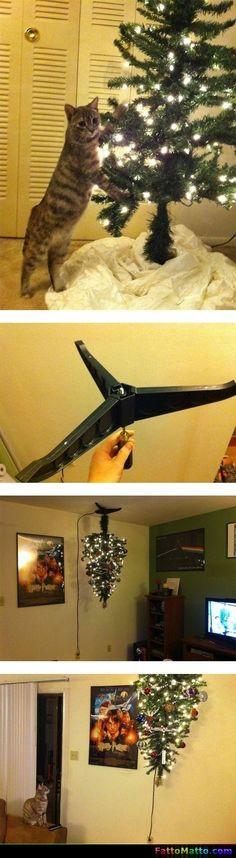 Come impedire al gatto di rompere l'albero di Natale - via FattoMatto.com - #FattoMatto