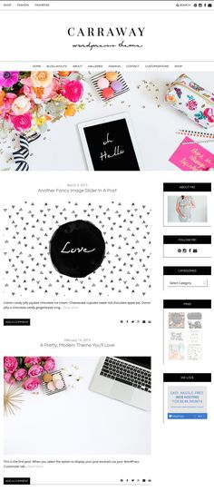 The Carraway Wordpress Theme by Angie Makes. A simplistic website design with tons of functionality. So simple and lovely.