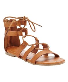 Look at this Tan Lace-Up Short Gladiator Sandal on #zulily today!