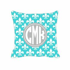 Monogram Custom Throw Pillow - Fleur de Lis