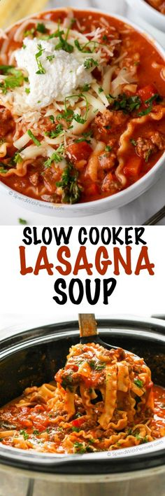 CrockPot Lasagna Soup is the perfect weeknight dinner! In this easy recipe, the slow cooker does all of the work to bring the goodness of lasagna and the comfort of soup together into one amazing meal. Topped with 3 cheeses and fresh herbs, this meal is like a hug in a bowl!