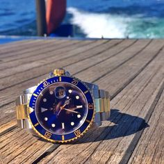 (60) Fancy - Rolex Submariner Two Tone Blue Dial Dive Watch