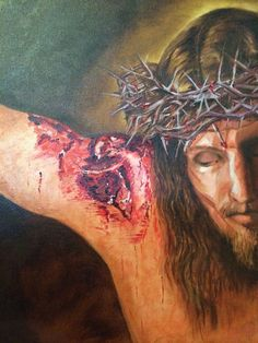 Devotion to the Holy Face of Jesus: Rendition of the wound of the shoulder of Christ by Lynn Forrester copyright 2013 Jesus Our Savior, Jesus Is Lord, Catholic Art, Religious Art, Roman Catholic, Catholic Crucifix, Crucifixion Of Jesus, Jesus Christus, Jesus Face