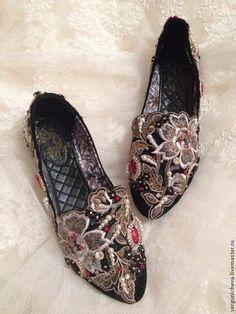 """Обувь ручной работы. Балетки""""Черный Талисман""""в стиле DG. Oksana Sergunicheva. Интернет-магазин Ярмарка Мастеров. В стиле дольче габбана"""
