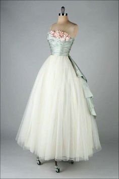 Ice blue and white ballgown