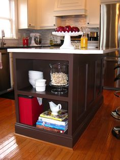 bookcase on end of kitchen island, same island we have