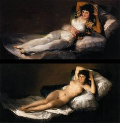 Goya - La maja vestida - La maja desnuda Francisco Goya, Classic Paintings, Paintings I Love, Goya Paintings, Maya, Spanish Art, Classical Art, New Instagram, Figure Painting