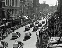Michigan Gas Company parade down Monroe (Center); on the left are the (now) Blue Cross Blue Shield, Morton House and Select Bank buildings - September 19, 1937