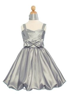 Silver Lovely Taffeta Bubbled Flower Girl Dress (Sizes 2-20 in 6 Colors)-Want.