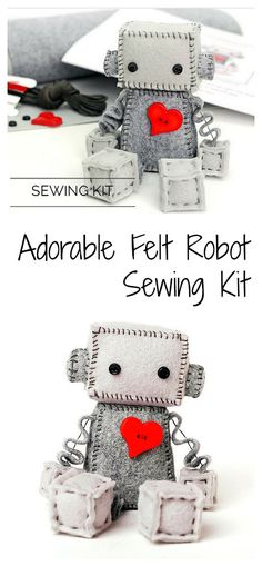 DIY Felt Robot Sewing Kit: Make a homemade wool felt robot by hand. What a special birthday gift or baby shower gift! #robot #woolfelt #sewingproject #ad