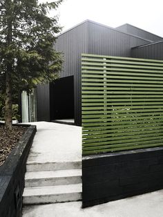 Green fencing against black