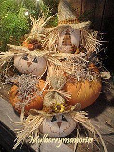 Primitive Country Scarecrows pumpkins Tucks PATTERN!