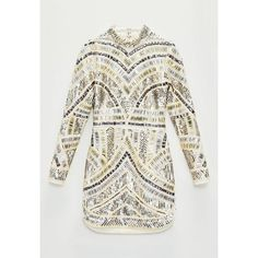 Missguided Peace + Love  High Neck Embellished Bodycon Dress (15,435 MKD) ❤ liked on Polyvore featuring dresses, white sequin dress, long sleeve sequin dress, white dress, long sleeve cocktail dresses and sexy white cocktail dresses