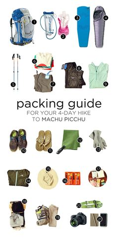 What to Pack for Machu Picchu and Your 4-Day Inca Trail Hike. http://www.amazon.com/gp/product/B00725K254