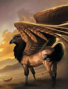 Hyppogriff. A legendary animal, half horse and half griffin. Its father was a griffin and its mother was a filly. It is often found in ancient Greek art and appeared largely in medieval legends. It is also a symbol of love.