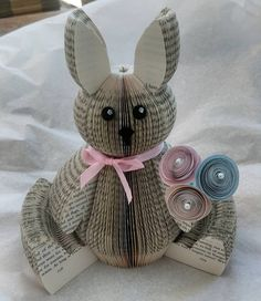 This little chap is off to Luxembourg. Rabbit Book, Bunny Book, Rabbit Sculpture, Book Sculpture, Folded Book Art, Paper Book, Origami, Book Page Crafts, Altered Book Art