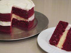 Red Velvet Cake filled with Jello No Bake Cheesecake. Amazing !