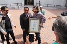 "Councilmember Cedillo also presented Luna with a Certificate of Appreciation from the City of Los Angeles. | ""Cesar Chavez"" Director Diego Luna Drapes A Union Flag Over L.A. City Hall"