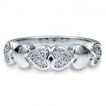 Micro Pave Cubic Zirconia CZ Sterling Silver Multi Heart Fashion Ring
