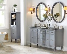 Bath furniture that's reminiscent of vintage dressers. HomeDecorators.com #StoreEverything #bathstyle