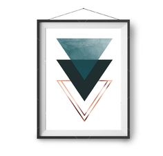 Triangle Art, Teal and Copper Print, Minimalist Wall Art, Scandinavian Design, Teal Home Decor, Modern, Abstract Art, Downloadable A4 Print by PrintAvenue on Etsy https://www.etsy.com/uk/listing/490607639/triangle-art-teal-and-copper-print