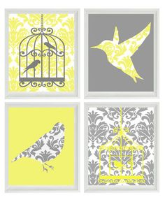 Shabby chic soft yellow hanging bird cage cottage chic for Kitchen cabinets lowes with bird nursery wall art