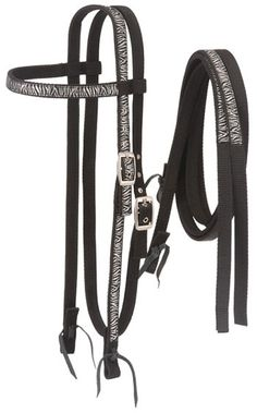 Tough-1 Zebra Print Nylon Browband Headstall and Reins Set | ChickSaddlery.com