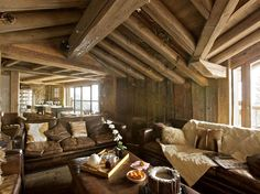 A very warm and cozy post and beam living room for Post and beam living room ideas