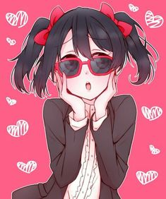 Safebooru is a anime and manga picture search engine, images are being updated hourly. Chica Anime Manga, Anime Art, Anime Love, Love Live School Idol Project, Red Frame Glasses, Cute Kawaii Girl, Hand On Head, Black Hair Bows, Fanart