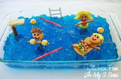 Kitchen Fun With My 3 Sons: Pool Party Jell-O Dessert!or use some non-edible swimmers, etc., for a fun sensory experience. Pool Party Snacks, Pool Party Kids, Pool Fun, Water Party, Kid Snacks, Jello Desserts, Party Desserts, Dessert Recipes, Summer Parties