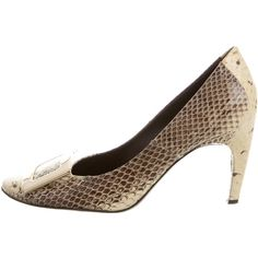 Pre-owned Roger Vivier Snakeskin Buckled Pumps (€300) ❤ liked on Polyvore featuring shoes, pumps, grey, buckle shoes, gray shoes, grey snakeskin shoes, roger vivier shoes and round toe shoes