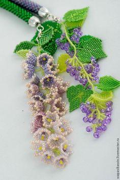 """Купить Лариат """"Вальс цветов"""" - сиреневый, зеленый, лариат-трансформер, лариат из…"""