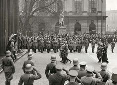 Adolf Hitler with General von Blomberg, the minister for war, and Field Marshal von Mackensen during a wreath-laying in the Unter den Linden for war heroes, Berlin, 1936. Note the officers saluting in the traditional way -- still no Heil salute in the army. The practice was maintained throughout the war with only the Waffen SS establishing the Heil as the routine form.