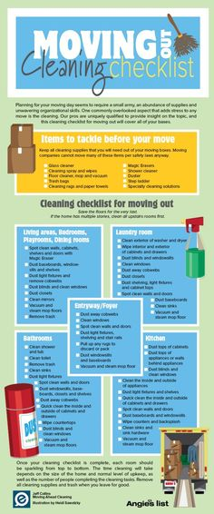 Good to know. Infographic: Moving out Cleaning Checklist How Fit Is Your Kid I read an article the Moving Cleaning Checklist, Move In Cleaning, Cleaning Hacks, Moving House Checklist, Moving House Tips, Moving In Tips, Cleaning Business, Cleaning Schedules, Speed Cleaning