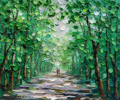 Image result for palette knife art evergreen trees