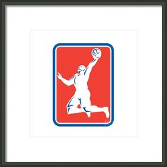 Basketball Player Rebounding Lay-up Ball Rectangle Framed Print By Aloysius Patrimonio