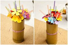 Décor: Tropical Paper Flower Straws  {via Piggy Bank Parties}