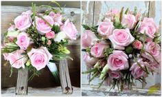 ramo de novia silvestre con un efecto muy natural con rosas rosas, gramíneas y verdes de complemento. Mayula Flores