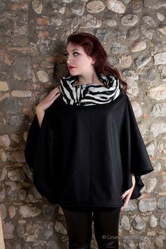 Wool Zebra Cape - the collar becomes a warm hood! $65.00