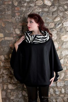 Wool Zebra Cape - the collar becomes a warm hood! $65.00