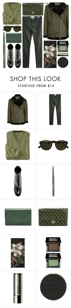 """green with envy"" by foundlostme ❤ liked on Polyvore featuring Topshop, Frame, RetroSuperFuture, E L L E R Y, Stila, Buxton, Chanel, Make, Sensai and AllGreen"