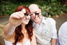 Ask your photographer to get creative when shooting a bride or couple in glasses. #glasses #wedding
